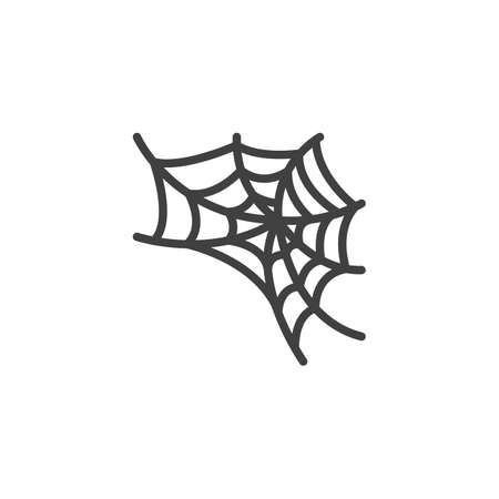 Spider web line icon. linear style sign for mobile concept and web design. Halloween spiderweb outline vector icon. Symbol, illustration. Vector graphics