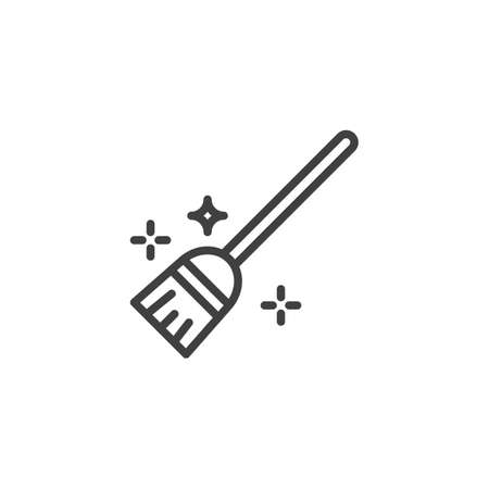 Flying broom line icon. linear style sign for mobile concept and web design. Witch broom outline vector icon. Symbol, illustration. Vector graphics