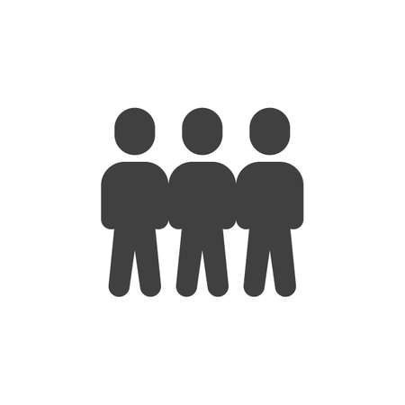 Crowd of people vector icon. Teamwork group filled flat sign for mobile concept and web design. Three people stand glyph icon. Symbol, illustration. Vector graphics