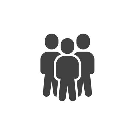 Group of three people vector icon. Teamwork staff filled flat sign for mobile concept and web design. People crowd glyph icon. Symbol, illustration. Vector graphics  イラスト・ベクター素材