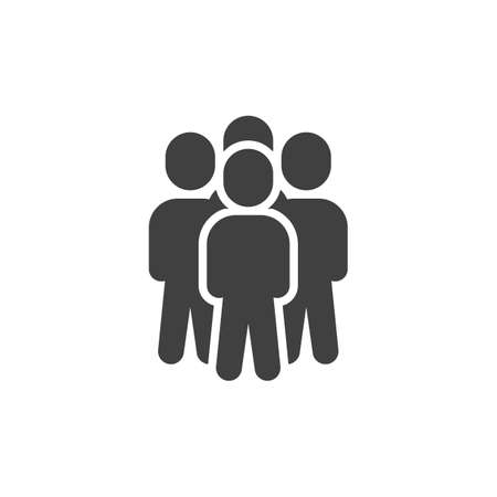 People crowd vector icon. 4 member staff filled flat sign for mobile concept and web design. Teamwork group glyph icon. Symbol, illustration. Vector graphics