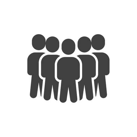 Five people group vector icon. Teamwork staff filled flat sign for mobile concept and web design. Crowd of people glyph icon. Symbol, illustration. Vector graphics