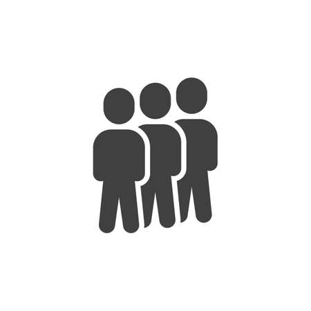Team group vector icon. Staff filled flat sign for mobile concept and web design. Crowd of people glyph icon. Symbol, illustration. Vector graphics Stock Illustratie