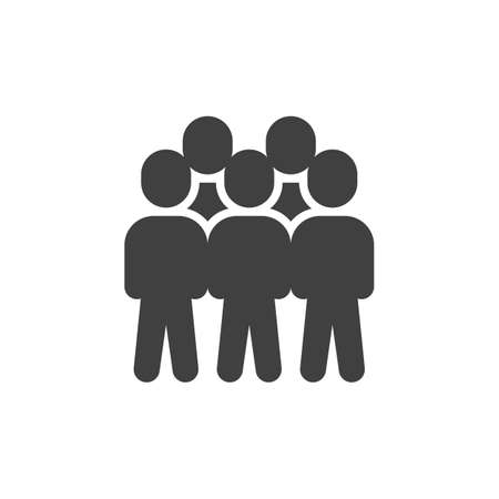 Group of five people vector icon. Teamwork, staff filled flat sign for mobile concept and web design. Crowd of people glyph icon. Symbol, illustration. Vector graphics  イラスト・ベクター素材