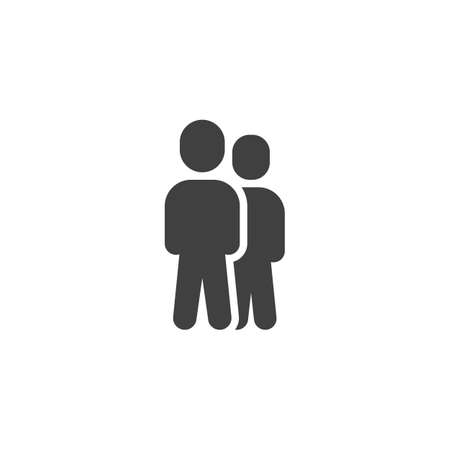 Two man standing vector icon. Staff filled flat sign for mobile concept and web design. Team leader glyph icon. Symbol, illustration. Vector graphics  イラスト・ベクター素材
