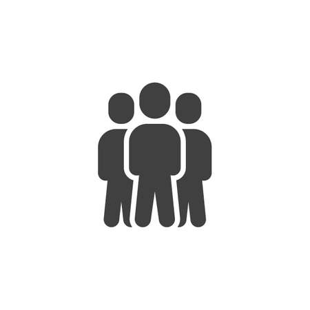 Team leader vector icon. Three people stand filled flat sign for mobile concept and web design. Group of 3 people glyph icon. Symbol, illustration. Vector graphics