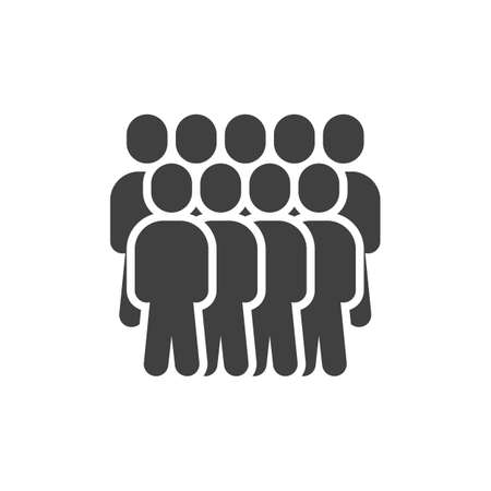 People, team group vector icon. Crowd of people filled flat sign for mobile concept and web design. Work group glyph icon. Symbol, illustration. Vector graphics