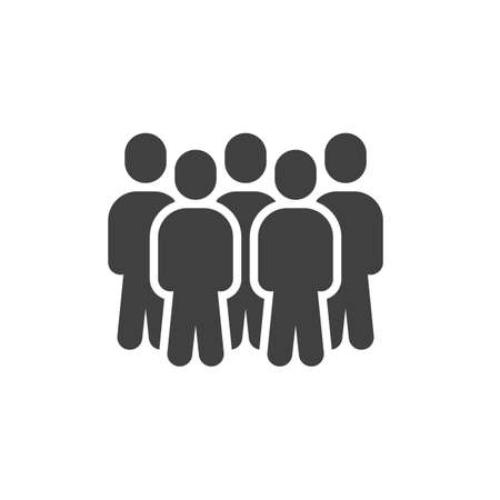 Group of five people vector icon. Crowd of people filled flat sign for mobile concept and web design. Teamwork, team glyph icon. Symbol, illustration. Vector graphics  イラスト・ベクター素材
