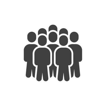 Crowd of people vector icon. Staff filled flat sign for mobile concept and web design. People group glyph icon. Symbol, illustration. Vector graphics