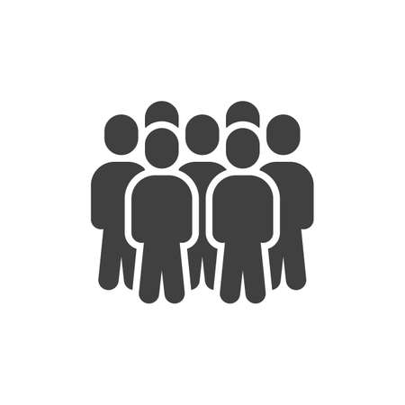 Team group staff vector icon. Teamwork filled flat sign for mobile concept and web design. Crowd of people glyph icon. Symbol, illustration. Vector graphics Stock Illustratie