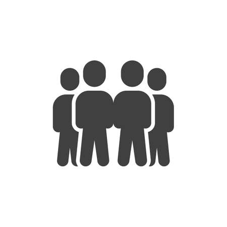 Staff group vector icon. Four people stand filled flat sign for mobile concept and web design. People crowd glyph icon. Symbol,  illustration. Vector graphics