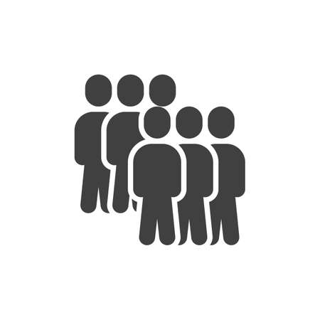 Team group vector icon. Crowd of people filled flat sign for mobile concept and web design. Group of six people glyph icon. Symbol, illustration. Vector graphics Stock Illustratie