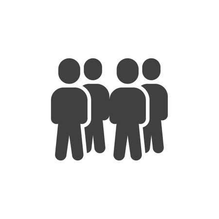 Group of four people vector icon. Staff teamwork filled flat sign for mobile concept and web design. Crowd of people glyph icon. Symbol, illustration. Vector graphics  イラスト・ベクター素材