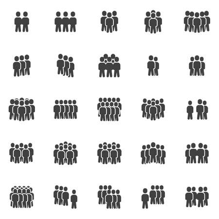 Crowd of people vector icons set, modern solid symbol collection, filled style pictogram pack. Signs, illustration. Set includes icons as office staff, people organization group leader, teamwork