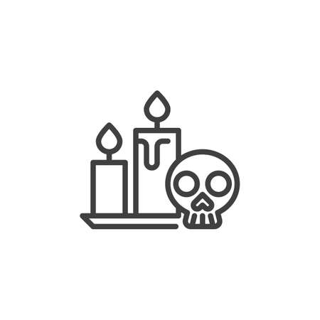 Halloween Skull and Candle line icon. linear style sign for mobile concept and web design. Human skull with candles outline vector icon. Symbol, illustration. Vector graphics Stock fotó - 129808636