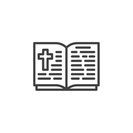 Bible book line icon. linear style sign for mobile concept and web design. Book with holy christ cross outline vector icon. Religion symbol, illustration. Vector graphics Imagens - 129808631