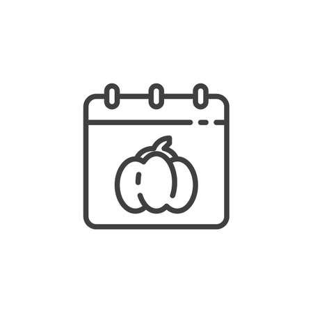 Halloween calendar page line icon. linear style sign for mobile concept and web design. Calendar with Halloween pumpkin outline vector icon. Symbol, illustration. Vector graphics