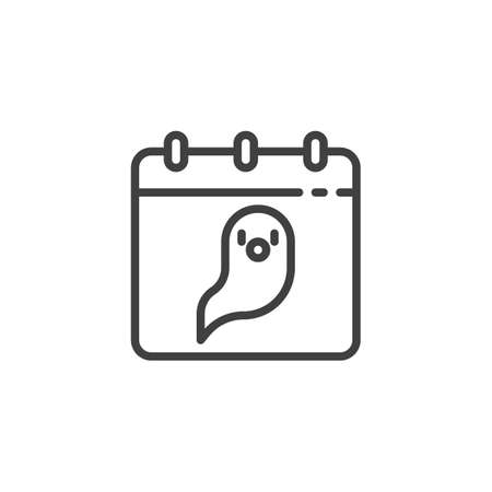 Calendar with ghost line icon. linear style sign for mobile concept and web design. Halloween calendar page outline vector icon. Symbol, illustration. Vector graphics Çizim