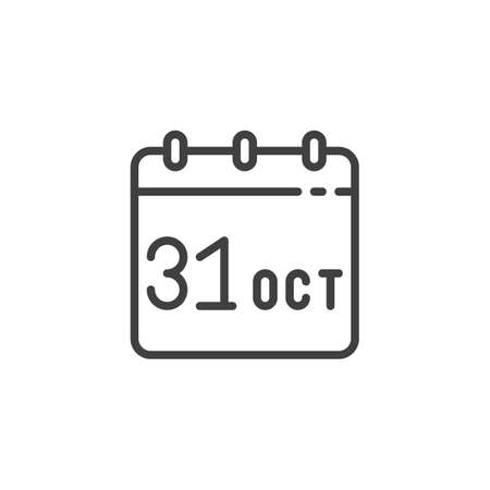 Calendar with Halloween date line icon. linear style sign for mobile concept and web design. October 31 calendar page outline vector icon. Symbol, illustration. Vector graphics Çizim