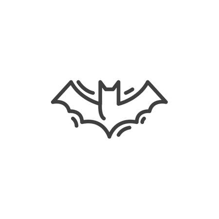 Halloween bat line icon. linear style sign for mobile concept and web design. Flying bat outline vector icon. Symbol, illustration. Vector graphics 向量圖像