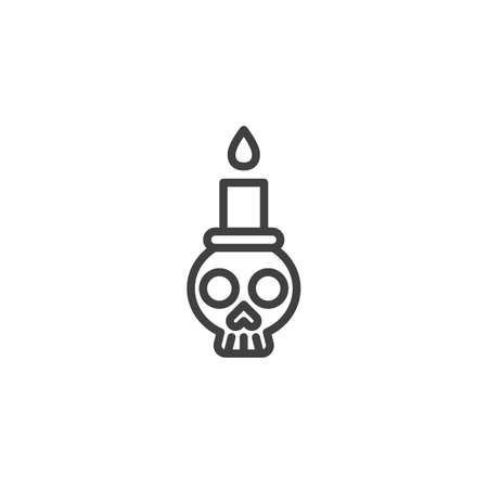 Skull with candle line icon. linear style sign for mobile concept and web design. Halloween skull outline vector icon. Symbol, illustration. Vector graphics Ilustração