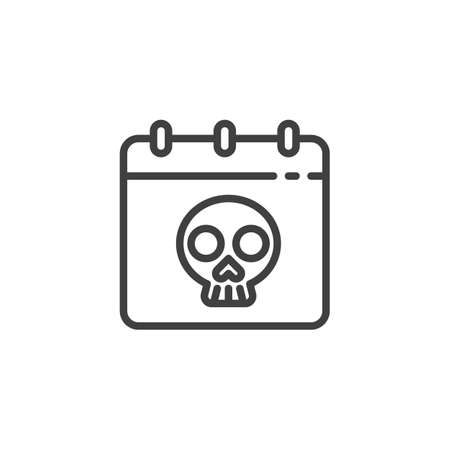 Halloween calendar line icon. linear style sign for mobile concept and web design. Calendar with skull outline vector icon. Deadline symbol,  illustration. Vector graphics