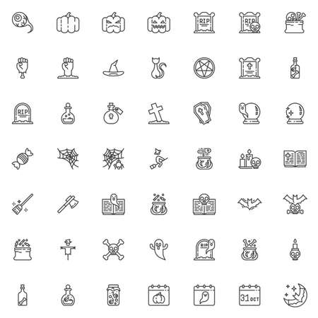 Happy Halloween line icons set. linear style symbols collection, outline signs pack. vector graphics. Set includes icons as Eyeball, Pumpkin, Gravestone, Zombie hand, Witch hat, Spellbook, Scarecrow 向量圖像