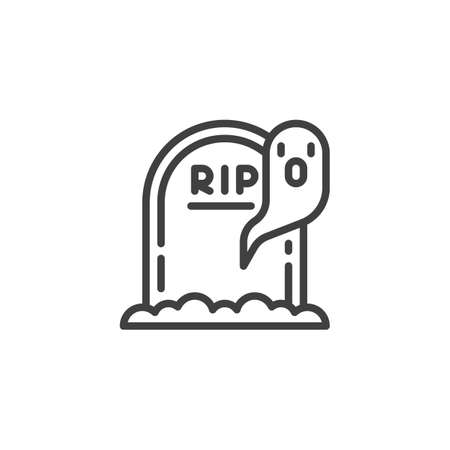 Halloween gravestone and ghost line icon. linear style sign for mobile concept and web design. Tombstone and ghost outline vector icon. Symbol, illustration. Vector graphics  イラスト・ベクター素材