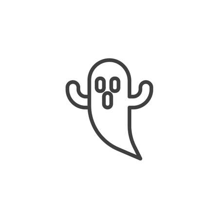 Halloween scary ghost line icon. linear style sign for mobile concept and web design. Spooky ghost outline vector icon. Symbol, illustration. Vector graphics
