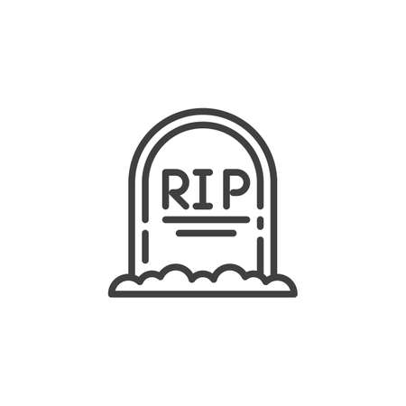 Rip Grave line icon. Headstone linear style sign for mobile concept and web design. Halloween tombstone outline vector icon. Symbol, illustration. Vector graphics