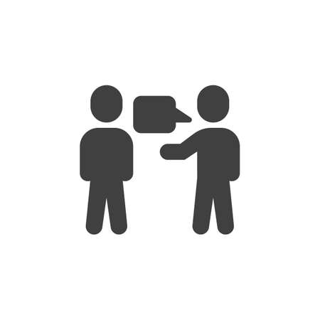 Two people with dialog speech bubble vector icon. filled flat sign for mobile concept and web design. Talking people glyph icon. Symbol,  illustration. Vector graphics Çizim