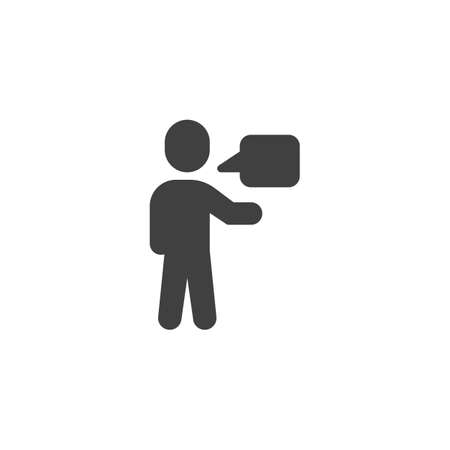 Man talking vector icon. Human speech filled flat sign for mobile concept and web design. Man and speech bubble glyph icon. Symbol, illustration. Vector graphics