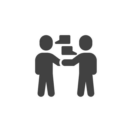 Two people talking vector icon. Friends meeting filled flat sign for mobile concept and web design. People talk glyph icon. Symbol,  illustration. Vector graphics