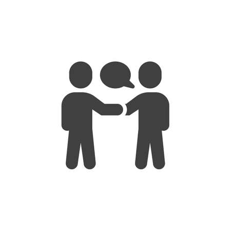 Two people conversation vector icon. Deal, handshake filled flat sign for mobile concept and web design. People talk glyph icon. Symbol,  illustration. Vector graphics Çizim
