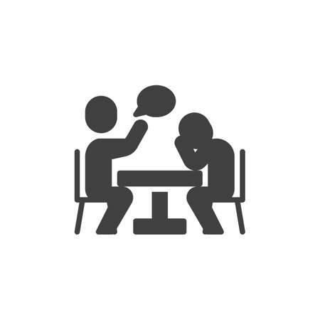 People sitting at the table talking vector icon. filled flat sign for mobile concept and web design. Partners at meeting table and speech bubble glyph icon. Symbol, illustration. Vector graphics