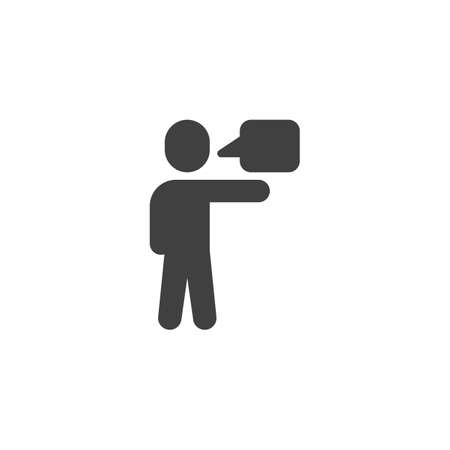 Talking man vector icon. filled flat sign for mobile concept and web design. Man and speech bubble glyph icon. Conversation symbol,  illustration. Vector graphics Çizim