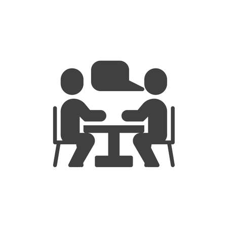 People at a table talking vector icon. Dialog filled flat sign for mobile concept and web design. Two people at table and speech bubble glyph icon. Symbol, illustration. Vector graphics Çizim