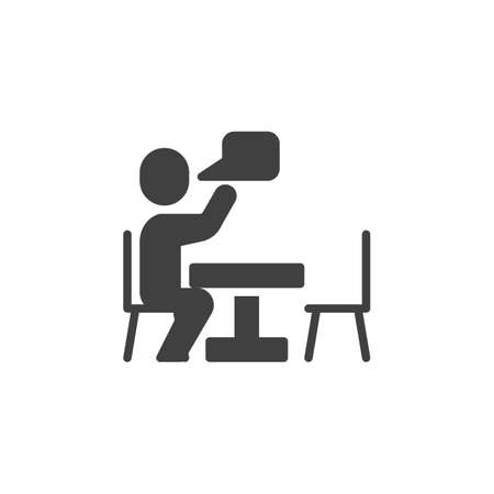 Talking man at table vector icon. filled flat sign for mobile concept and web design. Man sitting at the table and speech bubble glyph icon. Conversation symbol, illustration. Vector graphics Archivio Fotografico - 129808669