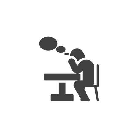 Thinking man at the table vector icon. filled flat sign for mobile concept and web design. Man sitting at table and think bubble glyph icon. Symbol,  illustration. Vector graphics