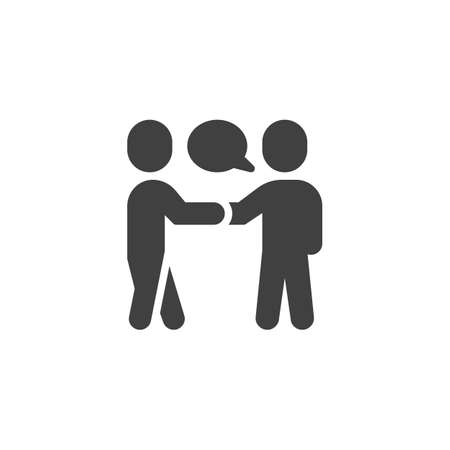 People meeting vector icon. Deal filled flat sign for mobile concept and web design. Two people handshake and speech bubble glyph icon. Symbol, illustration. Vector graphics