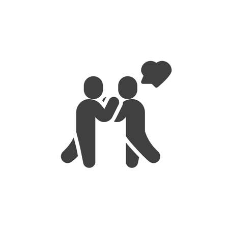 Lovers meeting vector icon. filled flat sign for mobile concept and web design. Couple and heart speech glyph icon. Symbol,  illustration. Vector graphics