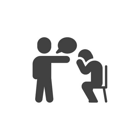 Boss dismisses employee vector icon. filled flat sign for mobile concept and web design. Manager blaming an employee, fired sad man crying glyph icon. Symbol,  illustration. Vector graphics Archivio Fotografico - 129808678