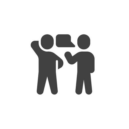 Two people talking vector icon. Conversation filled flat sign for mobile concept and web design. Speaking people glyph icon. Symbol, illustration. Vector graphics