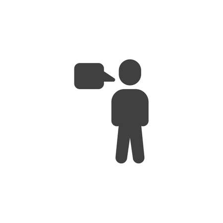 Human and speech bubble vector icon. Idea think lfilled flat sign for mobile concept and web design. Speaking man glyph icon. Symbol, illustration. Vector graphics