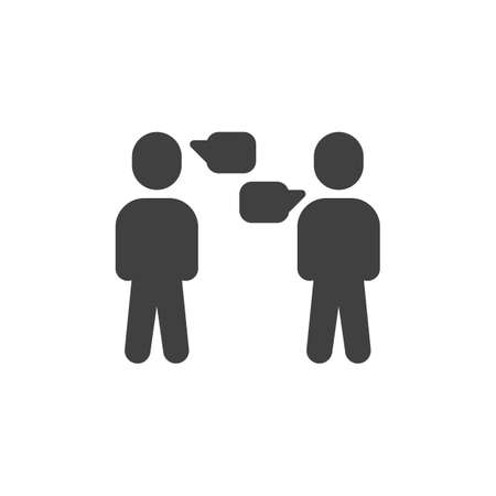 People with dialog speech bubble vector icon. discussion filled flat sign for mobile concept and web design. Speaking people glyph icon. Symbol, illustration. Vector graphics