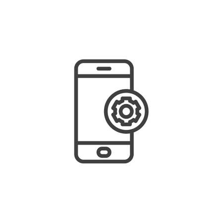 Mobile phone repair line icon. linear style sign for mobile concept and web design. Smartphone settings gear outline vector icon. Symbol,  illustration. Vector graphics