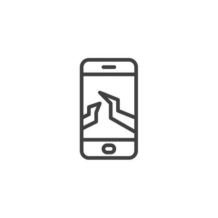 Broken mobile phone display line icon. linear style sign for mobile concept and web design. Smartphone with a cracked screen outline vector icon. Symbol,  illustration. Vector graphics Illusztráció