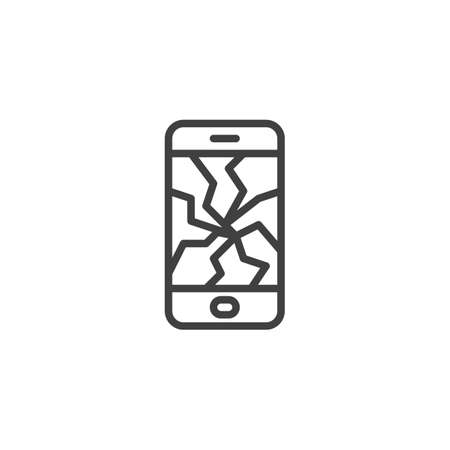 Smartphone with a cracked screen line icon. linear style sign for mobile concept and web design. Broken mobile phone display outline vector icon. Symbol, illustration. Vector graphics Illusztráció