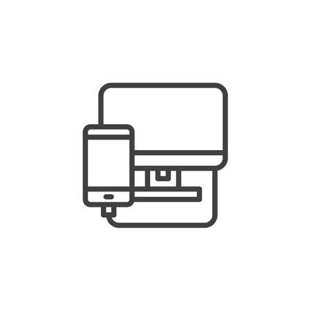 Phone diagnostics service line icon. linear style sign for mobile concept and web design. Smartphone connected to computer monitor outline vector icon. Mobile repair symbol, illustration.