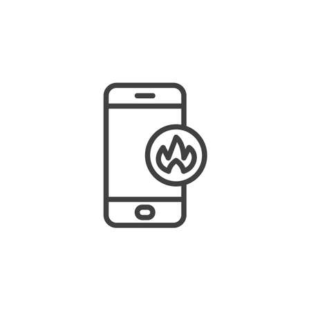 Smartphone with fire flame line icon. linear style sign for mobile concept and web design. Mobile phone repair service outline vector icon. Symbol, illustration. Vector graphics Illusztráció